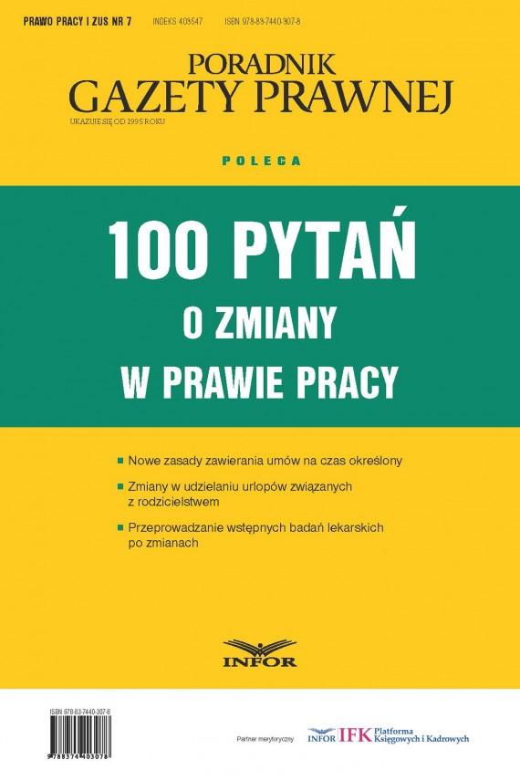 okładka 100 pytań o zmiany w prawie pracyebook | PDF | INFOR PL SA