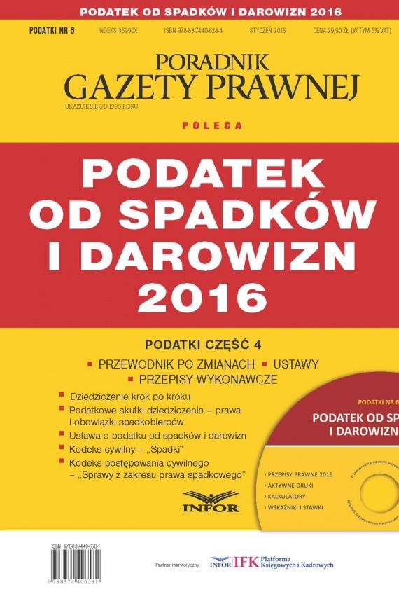 okładka Podatek od spadków i darowizn 2016ebook   PDF   INFOR PL SA