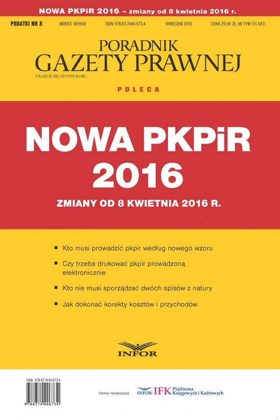 okładka Nowa PKPIR 2016 – zmiany od 8 kwietnia 2016 r.ebook   PDF   INFOR PL SA
