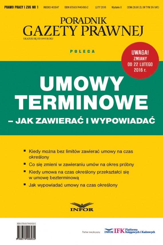 okładka Umowy terminowe – jak zawierać i wypowiadać. Ebook | PDF | INFOR PL SA